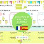 Tableau de rentrée bilingue français-espagnol (pdf gratuit à télécharger)